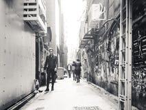 街道观点的HK 免版税库存照片