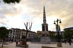 街道观点的Plaza de在MÃ ¡ laga,西班牙的la默塞德 免版税库存图片