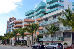 街道视图南海滩,迈阿密 免版税库存图片