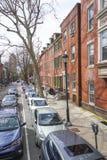 街道视图在历史的区费城-费城-宾夕法尼亚- 2017年4月6日 库存图片