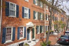 街道视图在历史的区费城-费城-宾夕法尼亚- 2017年4月6日 库存照片