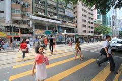 街道视图在香港铜锣湾 免版税库存照片