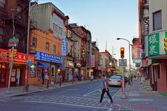 街道视图在费城PA的唐人街 库存照片