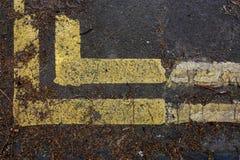 街道路与充分双黄线的末端角落叶子deb 图库摄影