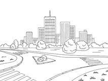 街道路图表黑白色城市风景剪影例证传染媒介 免版税库存照片