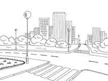 街道路图表黑白色城市风景剪影例证 库存图片