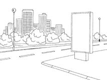 街道路图表黑白色广告牌城市风景剪影例证传染媒介 库存例证