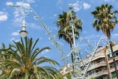 街道金属葡萄酒灯在巴塞罗那 库存照片
