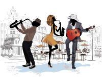 街道音乐家在城市 向量例证