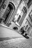 街道音乐家在维尔纽斯,立陶宛 免版税库存图片