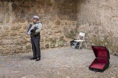 街道音乐家在Obidos,葡萄牙镇  免版税库存照片