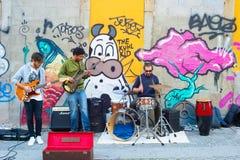 街道音乐带 免版税库存照片