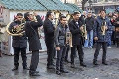 街道音乐,吉普赛喇叭音乐 免版税库存图片