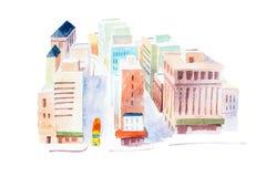 街道顶视图在一个大城市手拉与水彩 库存照片