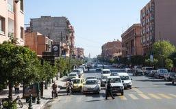 街道风景在马拉喀什 免版税库存照片