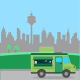 街道食物卡车例证 库存图片
