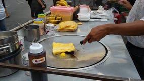 街道食物在曼谷,印地安样式roti 免版税库存图片
