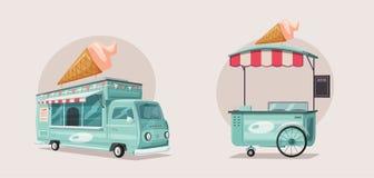 街道食物或冰淇凌供营商卡车 外籍动画片猫逃脱例证屋顶向量 向量例证