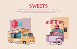 街道食物或快餐叫卖小贩供营商卡车 外籍动画片猫逃脱例证屋顶向量 向量例证