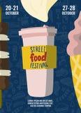 街道食物节日海报用咖啡去的, kebab和冰淇凌在动画片样式和手拉的字法 快餐 库存例证