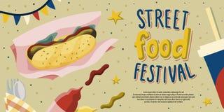 街道食物节日飞行物与热狗、番茄酱和芥末,饮料在手中被画的动画片样式的模板设计 皇族释放例证