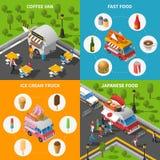 街道食物被设置的概念象 图库摄影
