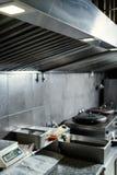 街道食物餐馆厨房工作区装置 免版税库存照片