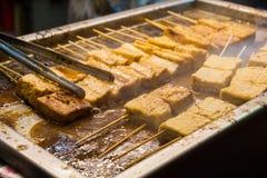 街道食物,腐败的豆腐,台湾食物 库存照片