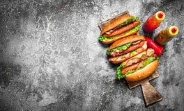 街道食物 热狗牛肉烤肉用辣调味汁 库存图片