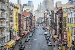 街道鸟瞰图在NYC的唐人街 免版税图库摄影