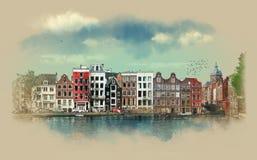 从街道,老大厦,运河,阿姆斯特丹的堤防的惊人的看法 荷兰 水彩剪影 库存照片