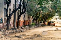 街道整修在贝尔格莱德 免版税库存照片