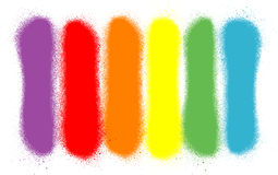 街道画在六种彩虹颜色的被喷洒的线 免版税图库摄影