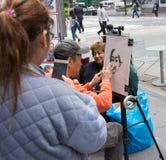 街道绘画在时代广场 免版税库存照片