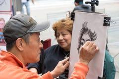 街道绘画在时代广场 库存照片
