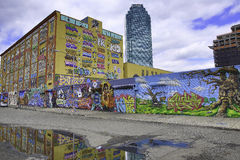 街道画在纽约城和花旗银行 免版税库存照片