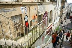 街道画在蒙马特,巴黎 免版税库存图片