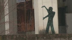 街道画在Pripyat 股票视频