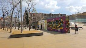 街道画墙壁在巴塞罗那 免版税库存图片