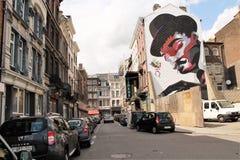 街道画墙壁在Liège,比利时 库存图片
