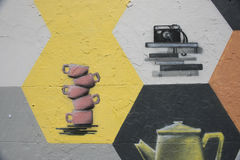 街道画墙壁 免版税图库摄影