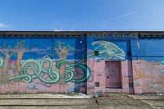 街道画壁画在哥本哈根,丹麦 图库摄影