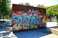 街道画片断在Retiro公园附近发现了 免版税库存图片