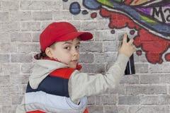 街道画男孩 库存图片