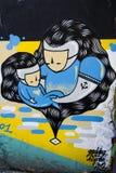 街道画砖墙,五颜六色的背景 免版税图库摄影