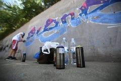街道画艺术家绘画 免版税库存图片