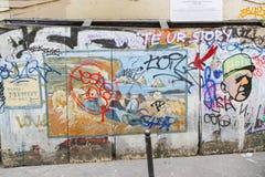 街道画艺术-巴黎 库存图片