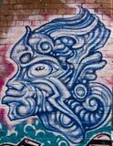 街道画蓝色战士面具 免版税库存图片