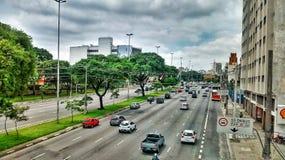 街道巴西圣保罗汽车 免版税库存照片