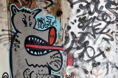街道画,在墙壁上绘的动画片猪 免版税库存照片